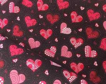 Glitter Heart Fabric / 100% Cotton / Red / Pink on black / Joann Fabrcs / 1 yard