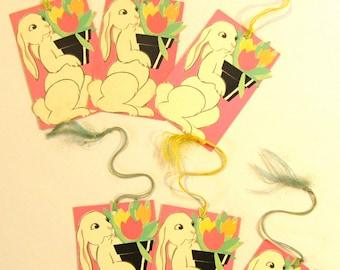 6 Buzza Vintage Bunny Tallies Paper Ephemera Easter Tree Decor