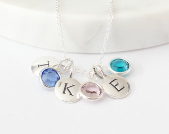 Silver 3 Initial & 3 Birthstone Charm Necklace -  Birthstone Necklace - Personalized Necklace - Initial Necklace