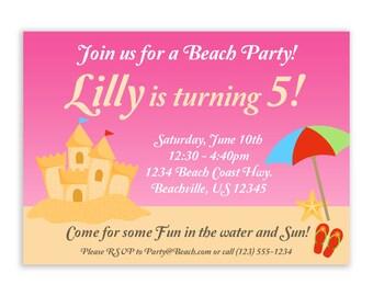 Beach Invitation - Cute Hot Pink Sand Castle and Umbrella, Sea Star Beach Personalized Birthday Party Invite - a Digital Printable File
