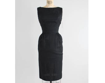 black silk cocktail dress | 1960s silk dress | black wiggle dress