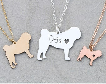 Pug Dog Necklace • Pug Jewelry Dog Silhouette • Pug Pet Jewelry Dog Personalized Memorial Necklace Pug • Pet Memorial Pendant Dog Loss