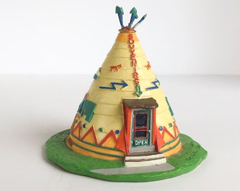 Retired Native American Lefton Souvenirs Tee Pee Shop Route 66