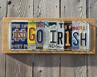 GO IRISH - custom made Notre Dame Fighting Irish license plate sign w/ logo - tailgate / alumni / graduation gift