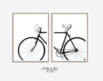 Bicycle Wall Art, Black And White Prints, Set Of Two Prints, Scandinavian  Large