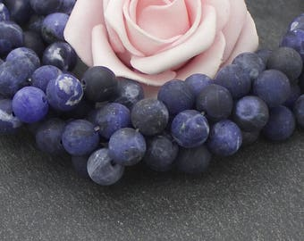 10 blue frosted sodalite beads 8 mm PG119