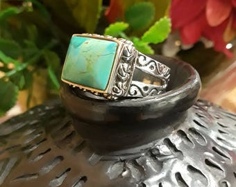 Sterling silver native American turquoise ring, size 6
