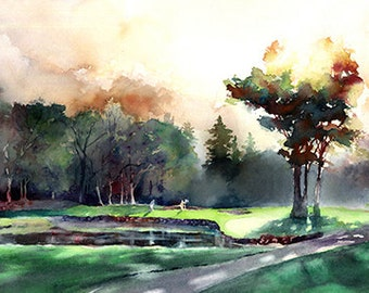 Golden Morning at Royal Oaks- Sunrise Golf Watercolor Art. Golf Green. Watercolor Trees. Shadows. Pond. Vancouver WA. Pacific Northwest Golf