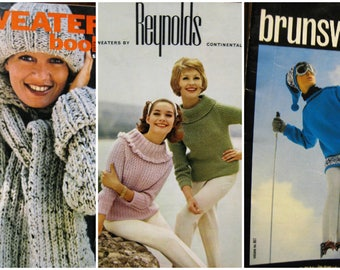 Three Pack of Vintage Sweater Knitting Patterns