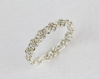 Sterling Silver Stacking Ring Unique Womens Wedding Band Argentium Silver Fused Chainmaille Size 4 5 5.5 6 6.5 7 8 9 10 11 12 13 14 15 16 17