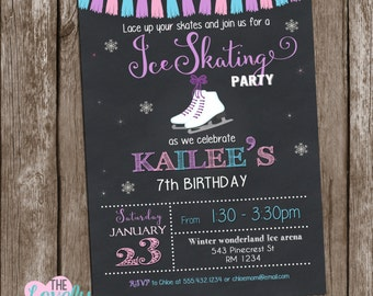 Ice Skating Invitation, Ice Skate Birthday Invitation, Ice Skating Birthday Party, Skating Invitation, Ice Skate Invite, Winter Invitation