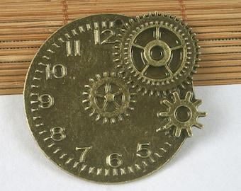 3pcs antiqued bronze round clock pendant G1655