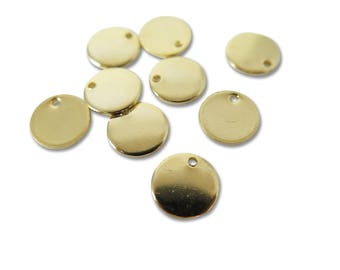 Gold Plated Engraving Circle Charms - with hole - 10mm (8X) (M553-C)