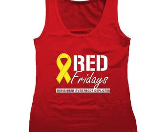 Red Fridays Remember Everyone Deployed Ladies Tanktop