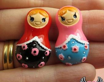 4 pcs Matryoshka Russian Doll Resin Decoden Flatback Kawaii Cabochons 30x18mm