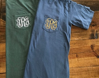 SALE SALE** Regular 15.65 Comfort Color Monogrammed Pocket Tee, Comfort Colors Monogrammed Shirt, personalized shirt, monogrammed pocket shi