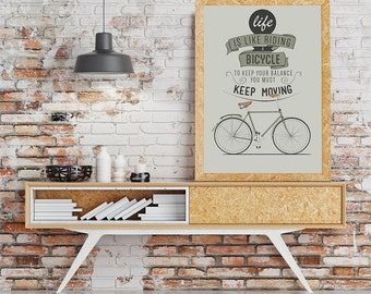 life is like a bicycle quote motivational poster art print motivational art inspirational quote wall art