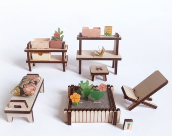 jardin d'hiver / mobilier pour maison de poupée en bois et papier à monter.