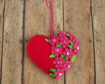 Red Felt Heart Ornament With Pink Flowers