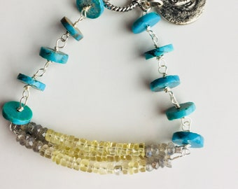 Turquoise Bracelet, Turquoise Rondelles, Yellow Quartz, Labradorite, Mixed Beaded Bracelet, Elephant Charm, Wire Wraped Bracelet