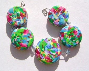 Moss Artisan Polymer Clay Bead Set with Focal and 4 Beads
