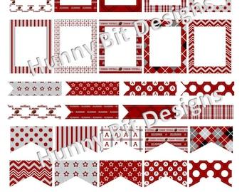 Erin Condren Alabama Crimson Tide Football Flags Stickers Labels Cards DIY PRINTABLE Instant Download Crimson White Gray Roll Tide