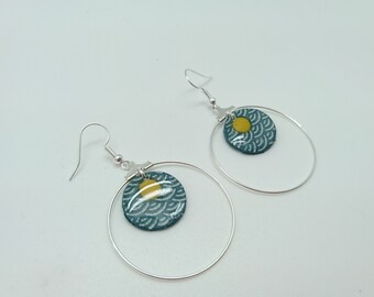 Earrings in polymer clay RING blue and yellow pattern segahia