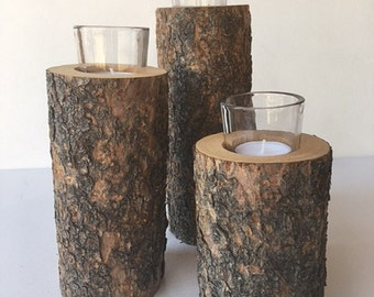 Wood Fir Latilla Candleholders with Votive Glass Candle Inserts Group of (3)