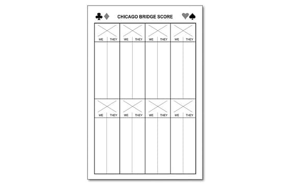 Chicago Bridge Score Pad  X  Sheets
