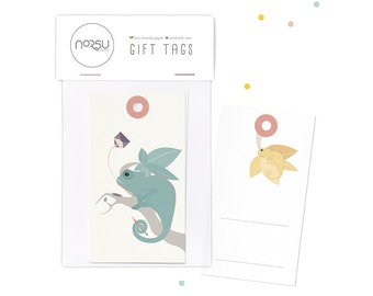 Gift tags - Chameleon   10 pcs - 5 x 9 cm / 19.7 x 27.5 inches