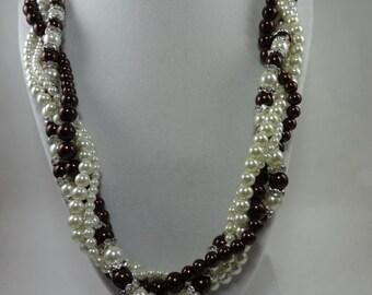 Chocolate/Ecru Pearl Twisted 4 Strand Necklace/Bracelet/Earrings