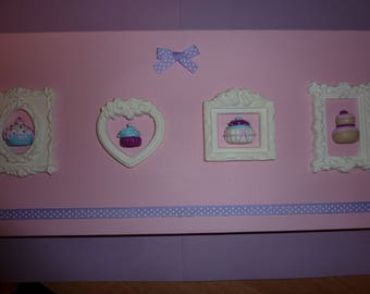 Gorgeous frame romantic delicious! Polymer clay cupcakes, birthday, wedding, Christmas table, baptism