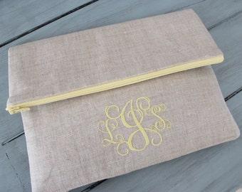 Fold Over Clutch | Monogram Bridesmaid Clutch | Wedding Accessory | Wedding Party Gift | Personalized Clutch | Foldover clutch