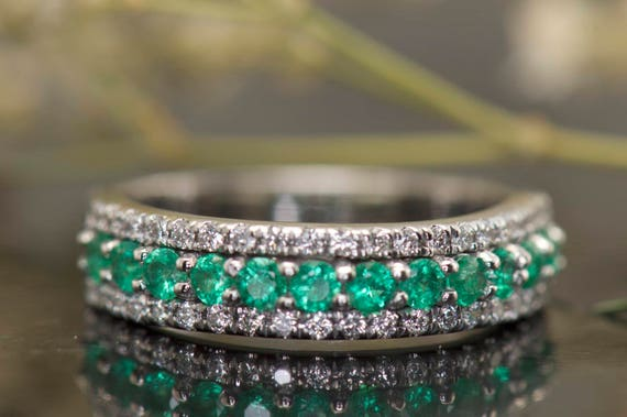 3Row Diamond and Emerald Wedding Band in White Gold Round