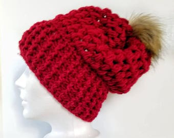 Piper Slouch Beanie.Ready to Ship// RED CRANBERRY Slouch//Purple Beanie//Pom Pom//Crochet Hat//Puffy Hat//Ribbed Band