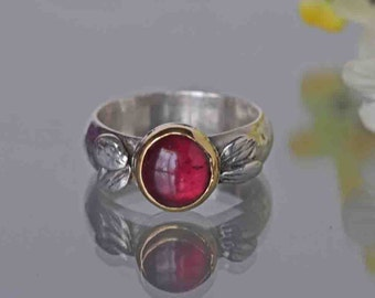 Garnet Ring in Sterling and Gold, Rhodolite Ring, Hammered Band, Silver and Gold, January Birthstone Ring, Nature Inspired, Size 7.25