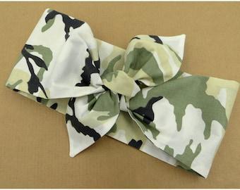 Military headband Khaki Turband Dolly bow headband Army Headband Green Camouflage Top knot Headband Woodland Camouglage Hair scarf Knot