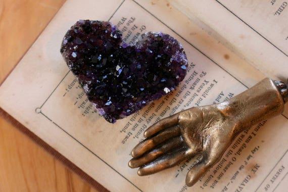 Mini Amethyst Druzy Heart, Black Amethyst Heart, Purple Crystal Heart, Heart Shaped Amethyst, Amethyst Cluster, Valentines Day