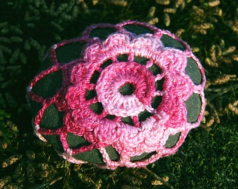 Variegated Pink Flower Sea Stone Paperweight crocheted lace fiber art thread crochet over stone