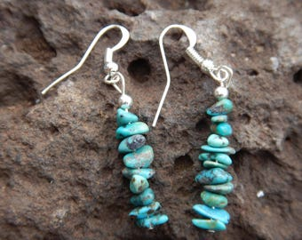 Turquoise Natural Stone Dangle Earrings Navajo Native American Handmade