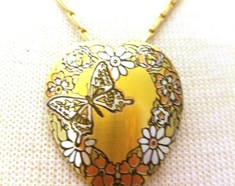 30% Off Sale Reed and Barton Heart Damascene Vintage Pendant Necklace