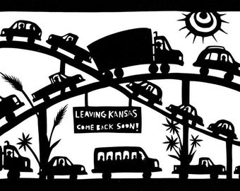 Leaving Kansas - 5 x 7 inch Cut Paper Art Print