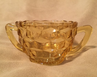 Amber Glass Sugar Bowl