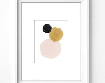 wall art printable, art print, wall decor, office decor, home decor, printable art, graphic art, instant download, watercolor, circle art