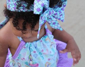 Mermaid Headwrap- Mermaid Headband; Mermaid Bow; Headwrap; Head Wrap; Baby Headband; Toddler Headband; Baby Headwrap; Toddler Headwrap