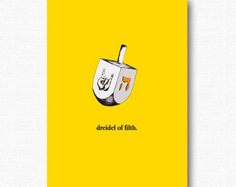 Funny hanukkah card etsy dreidel of filth funny chanukah hanukkah card happy hanukkah heavy metal holiday jewish cards m4hsunfo