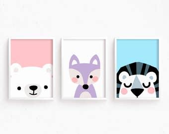 Sale 50% Off - Printable Nursery Art Set of 3 : Bear Fox Lion ( Face Art Baby room decor kids Poster Digital print Girls Room Cute Animals