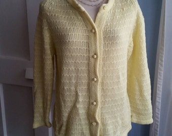 Sweet Little Vintage Knit Sweater in Canary Yellow. Spring Perfect!