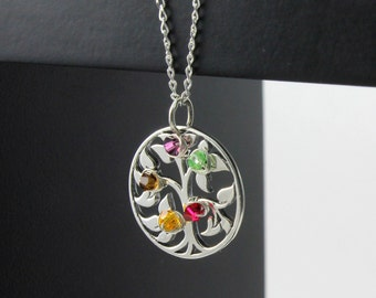 Mothers Day Gift - Tree of Life Necklace With Custom Birthstones - Wire Wrapped Family Tree Pendant on Sterling Silver