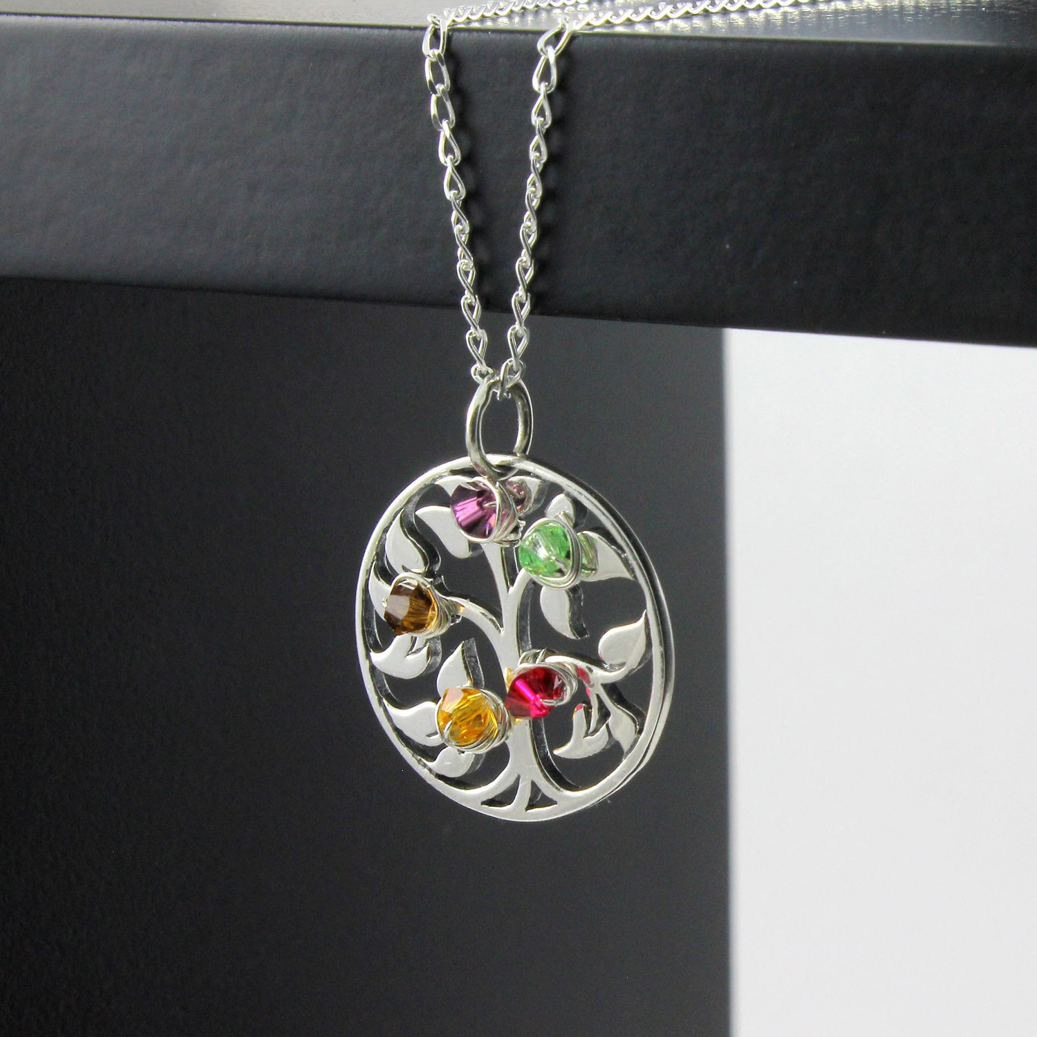 silver wid heart tree family necklace product swing pendant